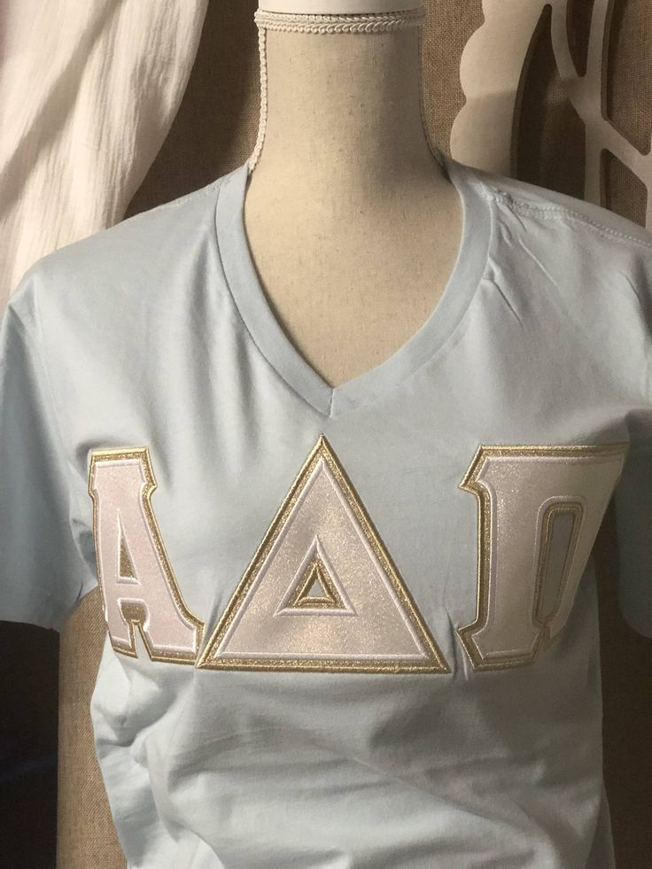 Sorority Letter Shirt with Metallic Letters Alpha Delta Pi by AuntieJsDesigns on Etsy