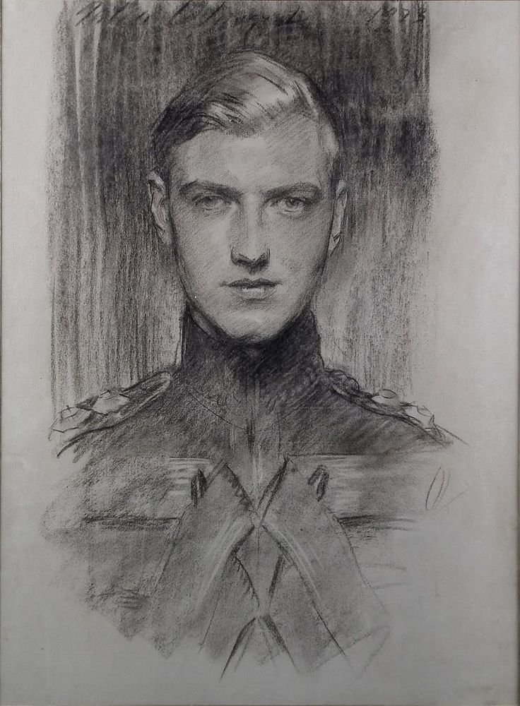 Charcoal drawing of Robert Gould Shaw III (dated 1923) by John Singer Sargent
