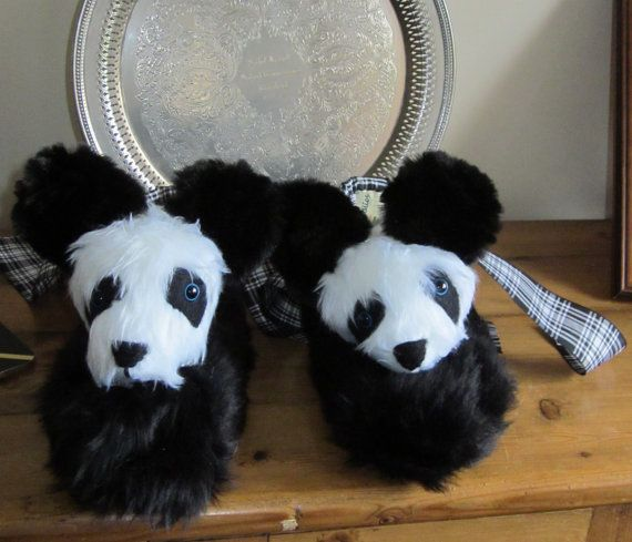 Ladies  Panda SlippersNovelty Gift Black and by coldhamcuddlies, $46.00