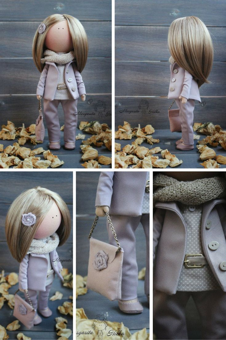 Hand made Art doll blonde purple Collectable by AnnKirillartPlace