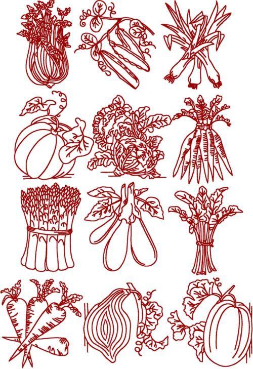 Redwork Embroidery Patterns | Redwork Vegetable Set