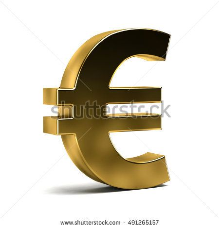 Euro Currency Symbol on White Isolated Background