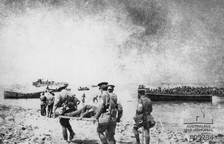 Wounded Australian soldier being evacuated from Gallipoli in 1915.