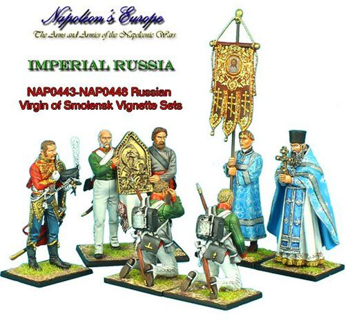 https://www.treefrogtreasures.com/p-14379-russian-priest.aspx Figures NAP442-448 depict the evening of September 6, 1812. This was the night before the Battle of Borodino when the Virgin of Smolensk icon was paraded before the Imperial Russian Army to steel their nerves for the horrors that would come the following morning. The last photo shows the entire 'Russian Virgin of Smolensk' vignette. In his holy vestments, the priest carries the Suppedaneum cross and leads the procession.
