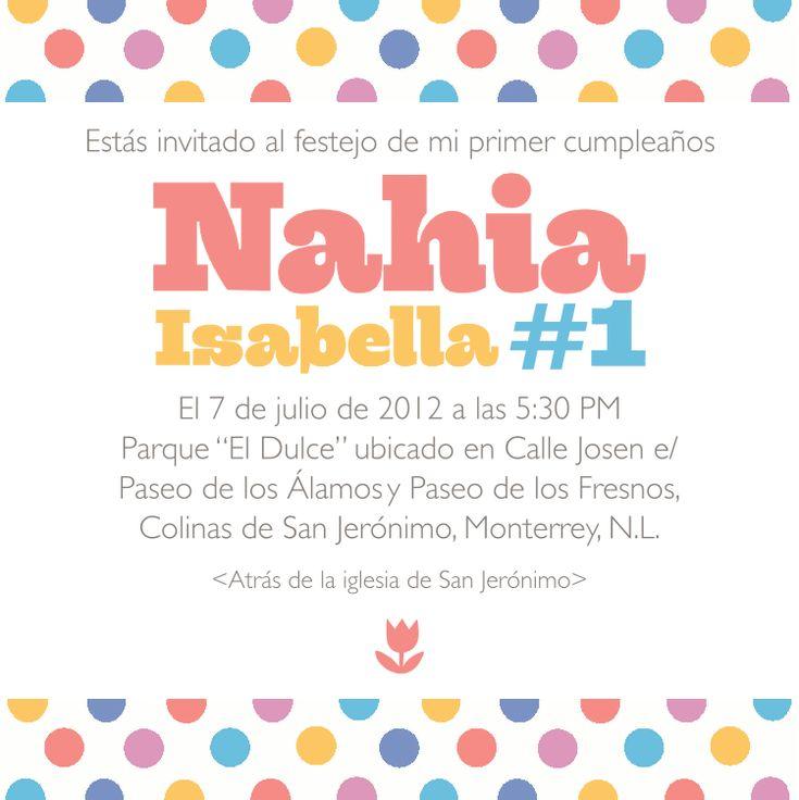 Invitación para el primer cumpleaños de mi niña! Cumpleaños,tarjetas,etc Pinterest Primer