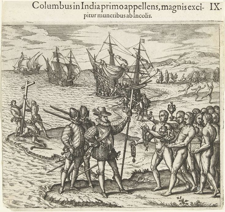 Christoffel Columbus komt aan in Amerika, Theodor de Bry, Johann Theodor de Bry, 1594