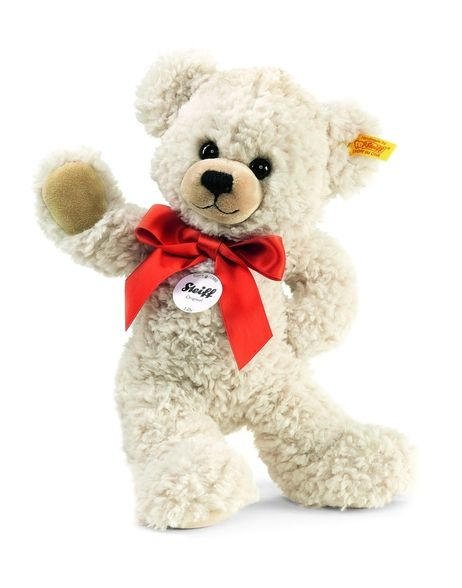 The Steiff Steiff Lilly Dangling Teddy Bear is a must for any collection. Made with the brass plated button in ear.