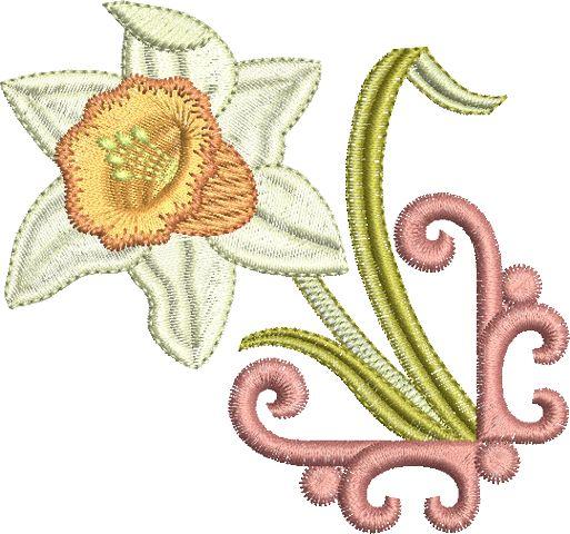 Daffodil corner embroidery design by Sue Box