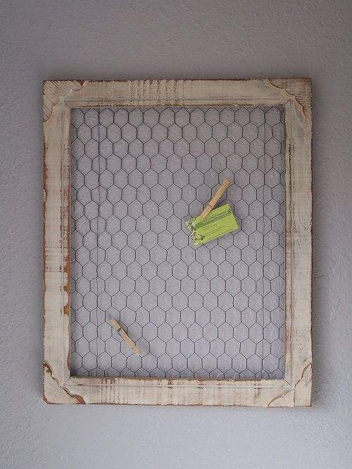 "DIY Chicken Wire Frame  You will need:  Scraps of old chicken wire   Old wooden picture frame (any size will work- depending on your preference)  Paint (optional)  Sandpaper (optional)  Staple gun and staples (You'll need something slightly bigger than your average ""office"" stapler)  Wire cutting tool"