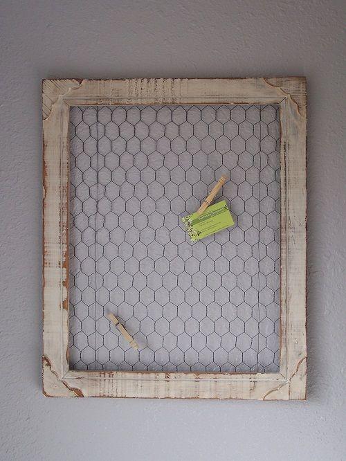 Chicken Wire Frame: Diy Chicken, Idea, Chicken Wire Frames, Bulletin Boards, Old Frames, Homesteads, Memo Boards, A Frames, Pictures Frames