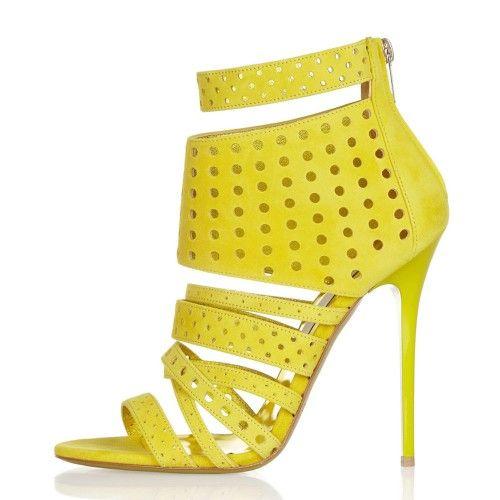 Sandália de salto amarela
