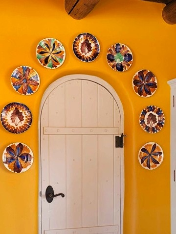 Cool arched door & orange paint