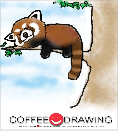 HOW TO DRAW Red panda STEP by STEP FOR KIDS PART 47 [ แพนด้าแดง , Red panda ] | COFFEE-DRAWING