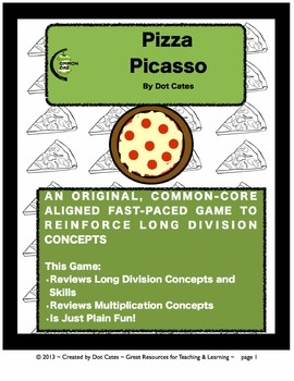 Pizza Picasso!  A Common Core Fast-Paced Long Division Game