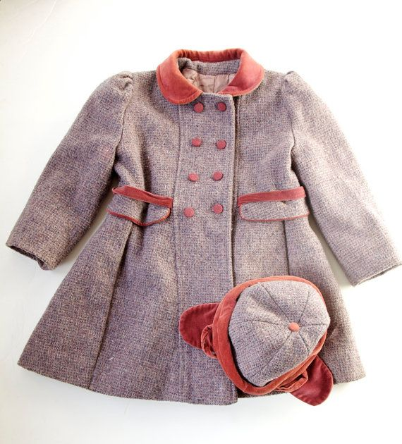 Vintage Girls Coat & Hat Fancy Toddler Overcoat Red Wool Velvet