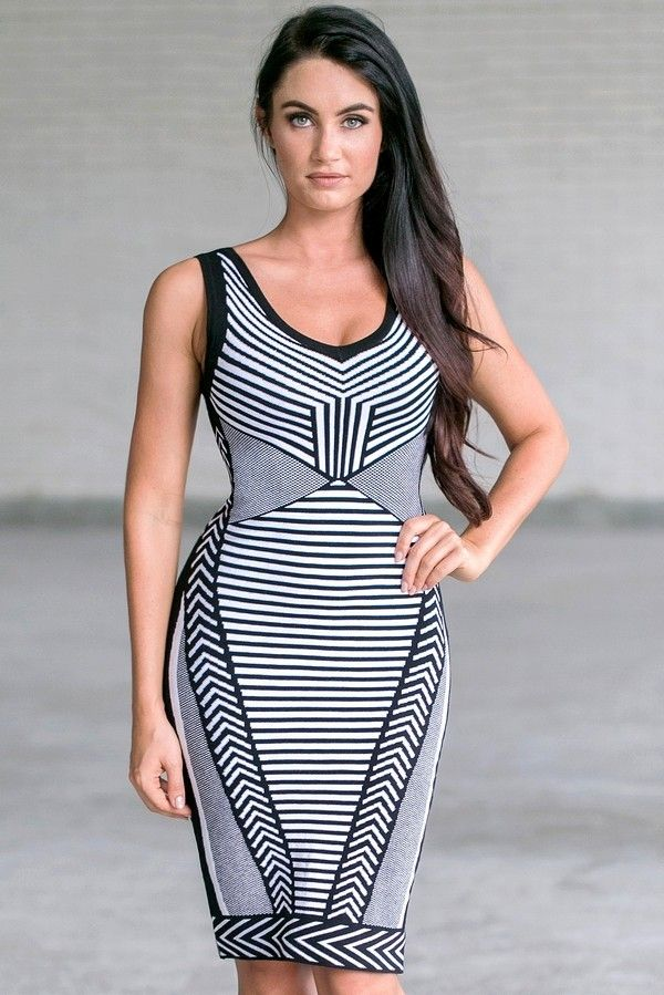 Lily Boutique Ava Black and White Illusion Sleeveless Sweater Dress, $42 Black and White Patterned Bodycon Sweater Dress, Cute Bandage Dress www.lilyboutique.com