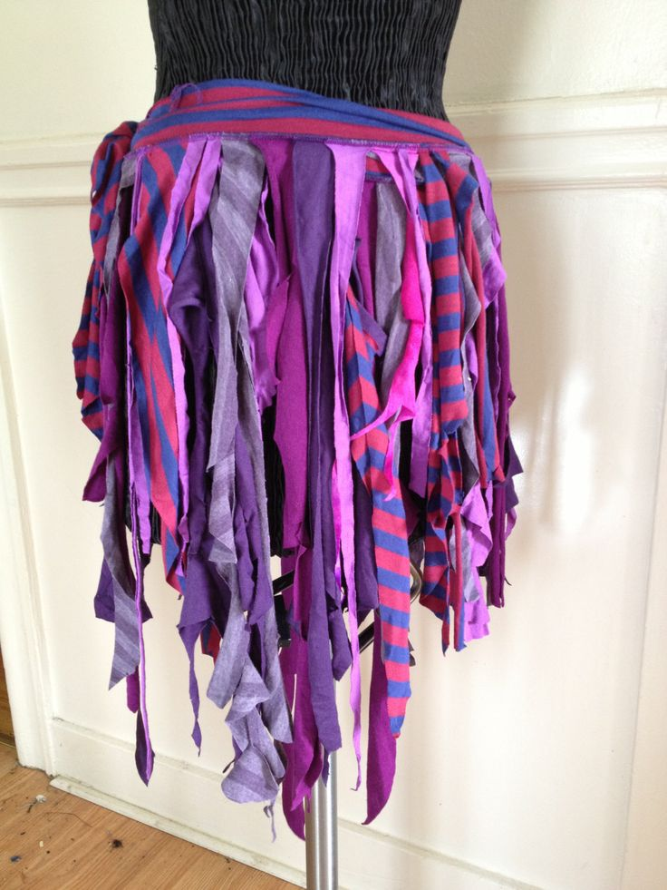 Upcycled Recycled Wrap Fringe Skirt Belly Dance Burning