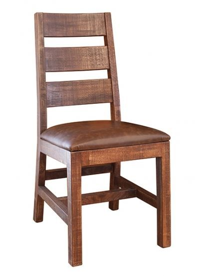Hand distressed solid wood is handcrafted into a unique ladder back rustic dining chair. The upholstered bonded leather seat provides the comfort throughout a 6 course meal or an evening of cards. The mortise and tenon construction ensures this chair will be around for a long time. This chairs rustic charms will enhance mountain, cabin,