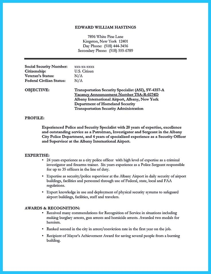 cool Perfect Correctional Officer Resume to Get Noticed,