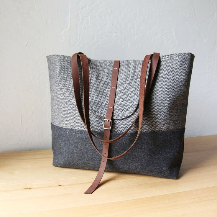 Made of pure wool and leather, this tote is your fall wardrobe's go-top piece. #countryliving