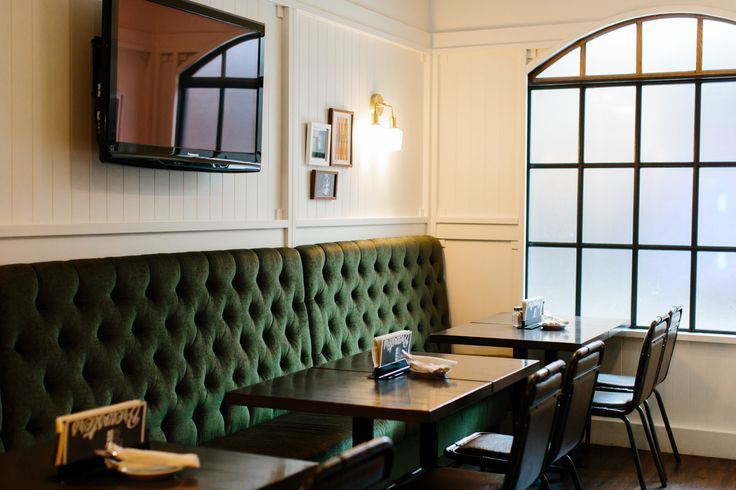 Brewsters Bonavista Restaurant | Holland Design, Restaurant, hospitality, bar, beer, brewery, interior, design, lighting, banquette, windows, mullions, arched, green, tufting
