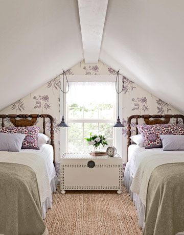 2 twin beds under the eaves, great inspiration for cape house girls' room