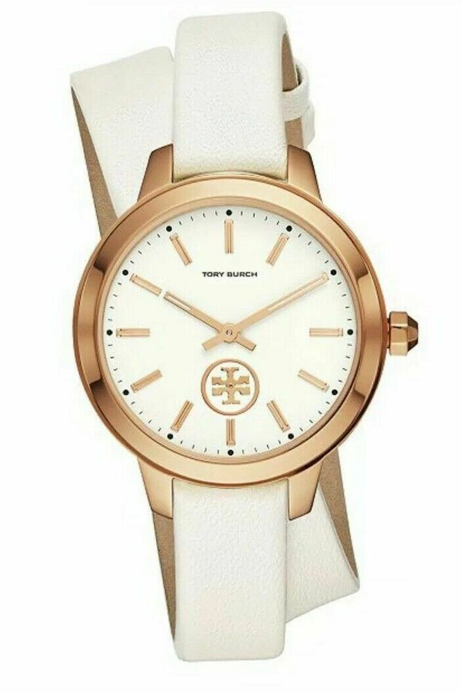 06941f90a Tory Burch Gold Watch Double Wrap White Leather Strap TBW1206 NEW #ToryBurch