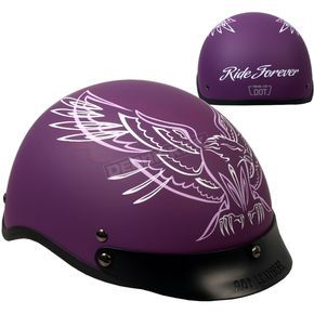 Hot Leathers Woman's Matte Purple Upwing Half Helmet - HLD1027L  Harley Motorcycle