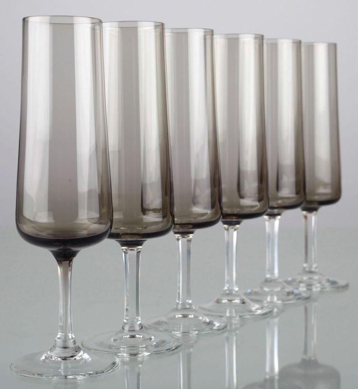 6 Vintage Sektgläser Rauchglas Driburg Sektkelche Kristallgläser 50er 60er K77