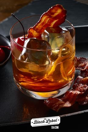Bacon-Infused Manhatten | If your cocktail doesn't have Cherrywood Black Label® Bacon in it, you need to order another drink | Best cocktail recipe
