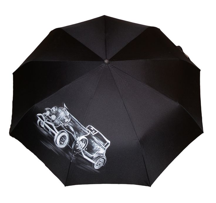 Зонт Ретро-автомобиль купить в Санкт-Петербурге #зонт #зонтик #umbrella #parasol #design #спб #россия #машина #авто #роспись #хендмейд #handmade #рисунок #drawing #draw #style #styling #складной #дизайнерский #заказ #крутой #черный #дождь
