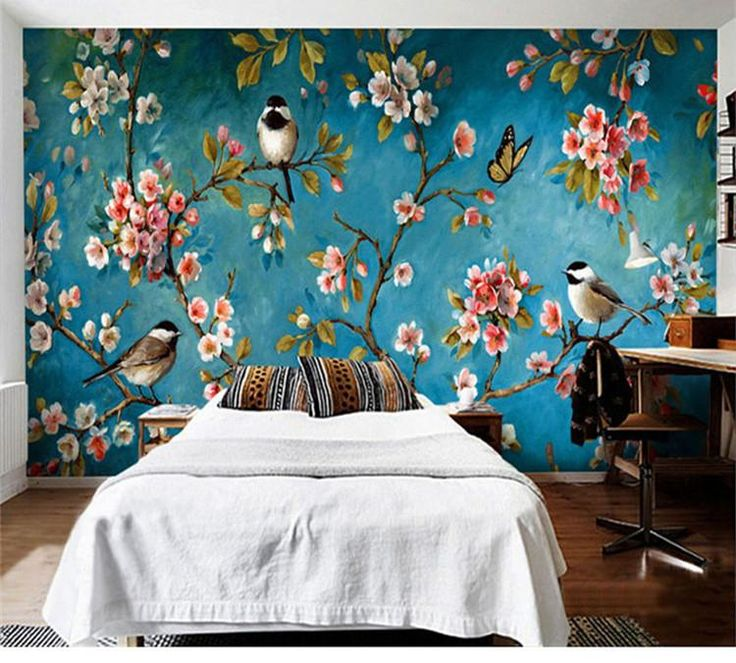Flowers Wall Wallpapers Design For Your Bedrooms Decorating: Photo Wallpaper 3D Stereo Chinese Flowers Birds Mural