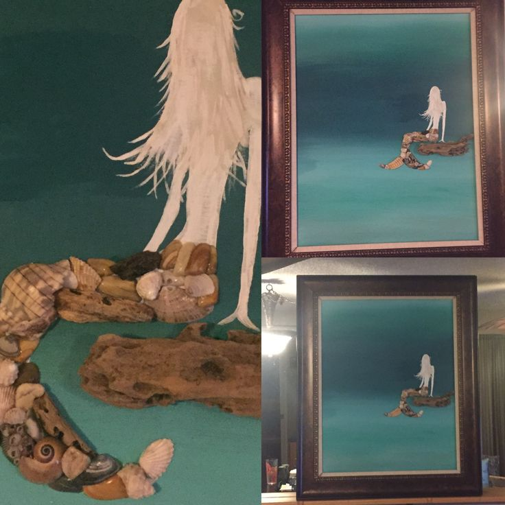 Day dreams at sea.. lovely little mermaid , pieced of driftwood and shells from Saint Augustine Beach, Clearwater Beach, and a new smyrna beach. Being artistic makes me happy, even if I'm the only one that loves it !! 😊 happy soul , love art