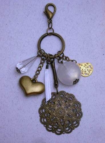 llavero accesorio cartera, romántico dijes.Bijouterie artesanal.