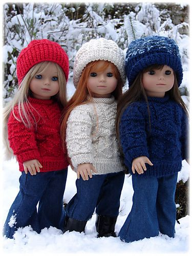 Cute American Girl Doll knitwear--LOVE these sweaters...(to purchase patterns by Debbie Denair)