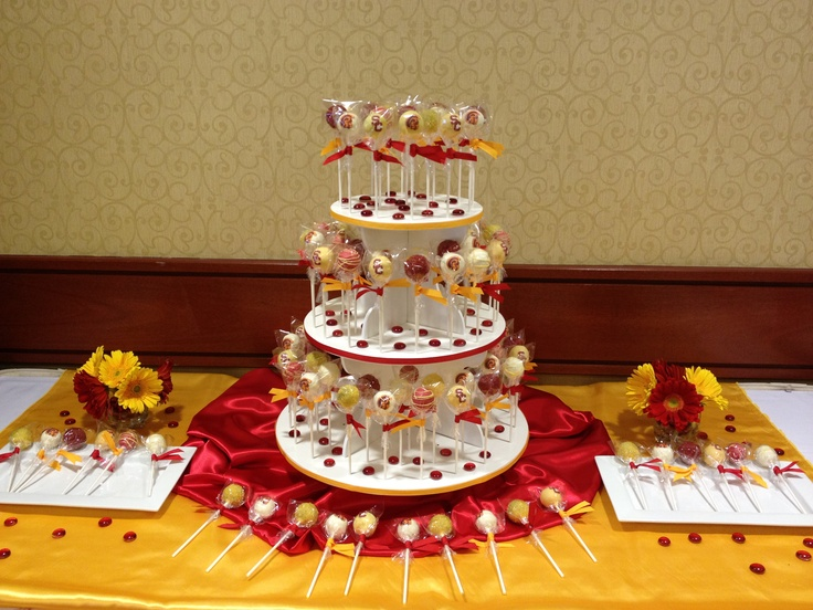 Usc Birthday Cake Images : Pin Usc Graduation Cake Three Tier White With Cak Cake on ...