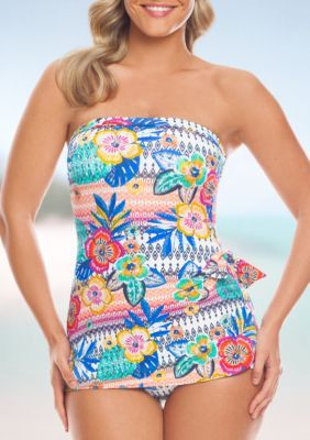 Shapesolver Women's Summer Fest Bandeau Sarong One Piece Swimsuit - Multi - 12