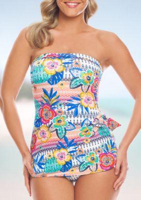 Shapesolver Women's Summer Fest Bandeau Sarong One Piece Swimsuit - Multi - 12