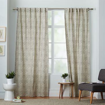 Cotton Canvas Stamped Dots Curtains (Set of 2) - Platinum #westelm