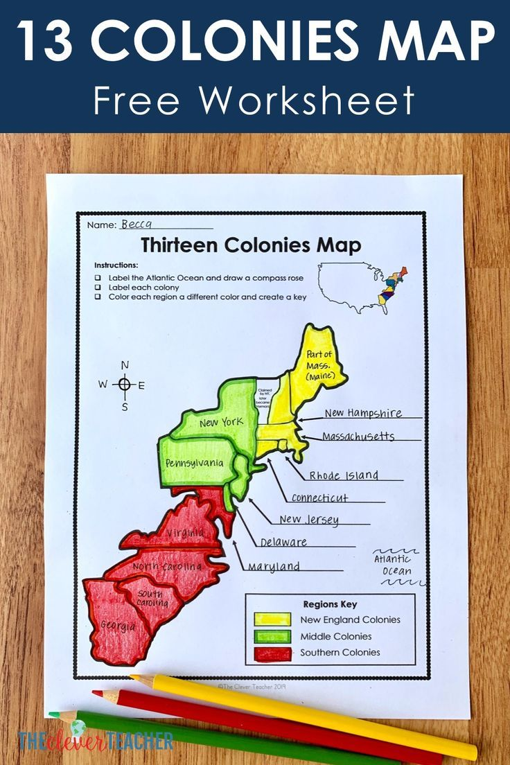 13 Colonies Free Map Worksheet And Lesson For Students History Worksheets 13 Colonies Map Teaching History