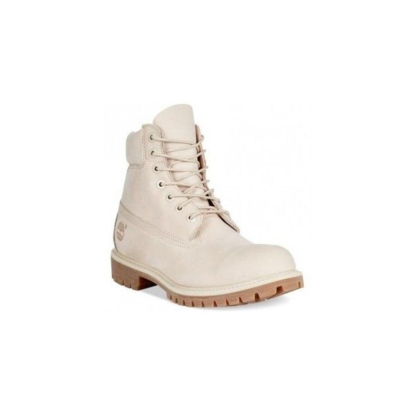 Timberland Premium Boots in Angora ❤ liked on Polyvore featuring shoes, boots, timberland boots, timberland shoes and timberland footwear