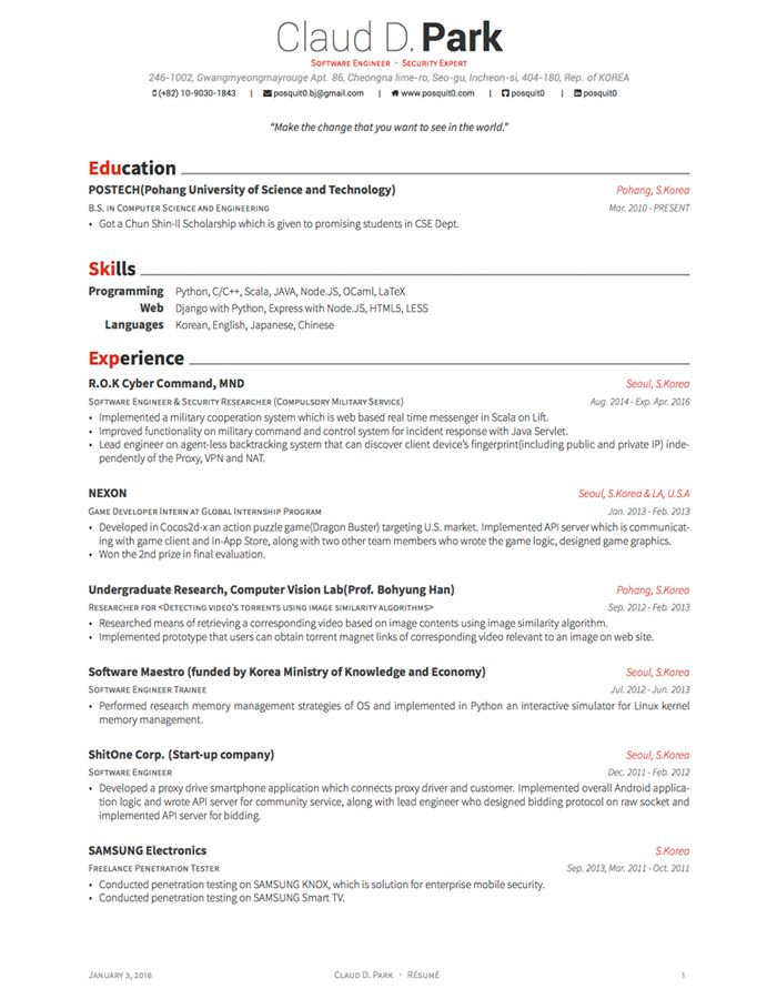 Latex Template Resume One Page Resume Samples One Page Resume