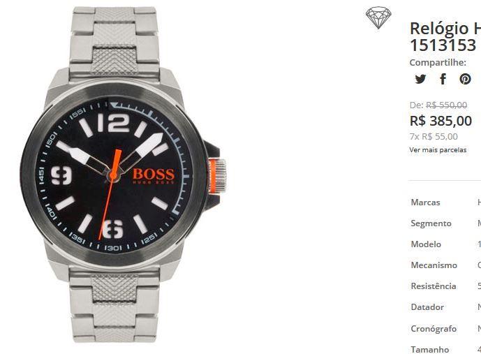 Relógio Hugo Boss Masculino Aço - 1513153 << R$ 38500 em 7 vezes >>