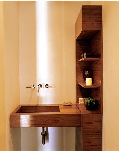 Wooden bamboo bathroom vanity and shelving