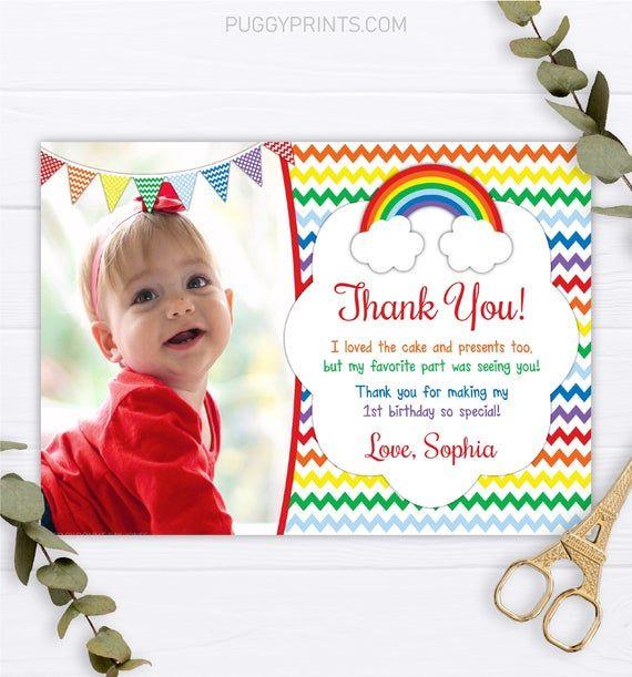 Rainbow Birthday Thank You Card With Photo Editable Rainbow Thank You Card Template P In 2021 Birthday Thank You Cards Card Templates Printable Thank You Card Template