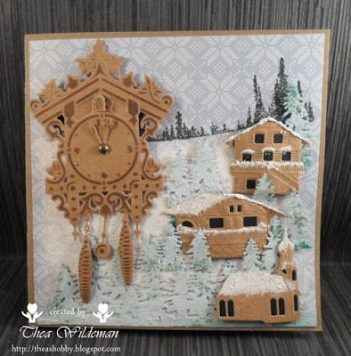 Handmade card by DT member Thea with Craftables Cuckoo Clock (CR1388), Creatables Austrian Village (LR0443) and Horizon Forest (LR0444) from Marianne Design