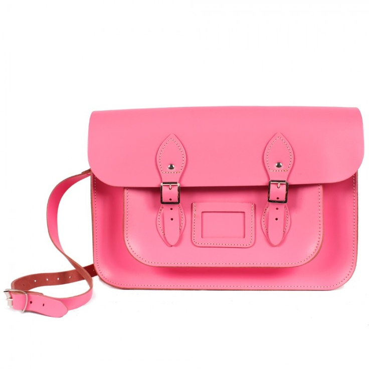 $109 Original sac Leather Satchel 12,5 de la marque BOHEMIA. Disponible en rose fluo ou jaune fluo.