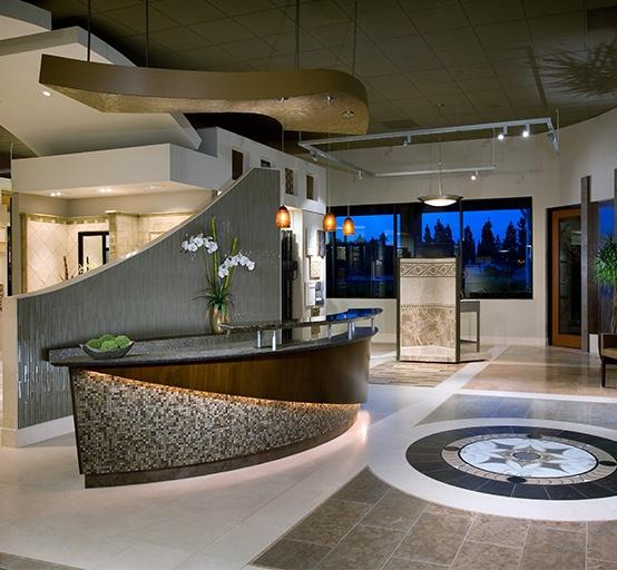Reception Desk- Mantra  Back curved wall- Skyline