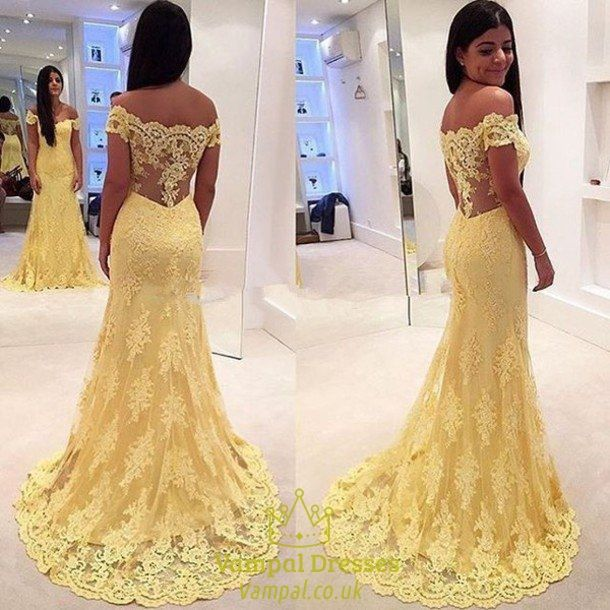 vampal.co.uk Offers High Quality Yellow Lace Off The Shoulder Illusion Back…