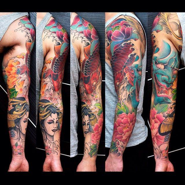 koi fish tattoo, hannya tattoo, geisha tattoo by Meng Xiangwei @greattangtattoo http://facebook.com/greattangtattoo